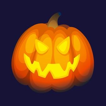 Glühender halloween-kürbis mit gruseligem gesicht.