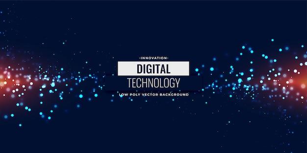 Glühender hintergrund der blauen digitalen partikel