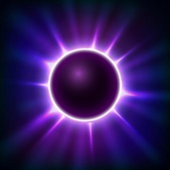 Glühender hintergrund der violetten kugel