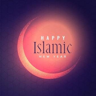 Glühender islamischer hintergrund des neuen jahres mit glänzendem mond