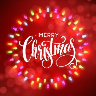 Glühender licht-kranz für weihnachtsfeiertags-gruß-karten-design. frohe weihnachten-schriftzug-etikett