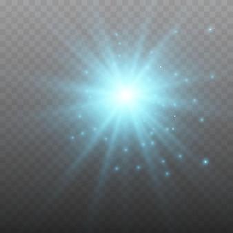 Glühender lichteffekt auf transparentem hintergrund.