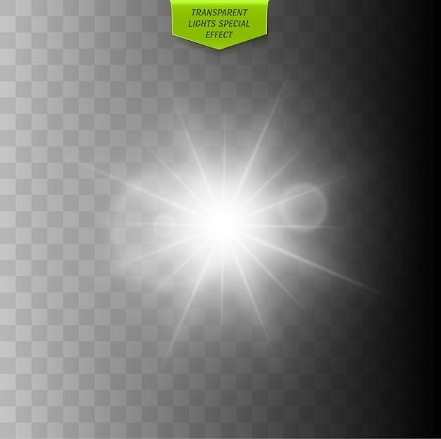Glühender lichteffekt glühender funke lokalisiert auf transparentem hintergrundvektorsternexplosion