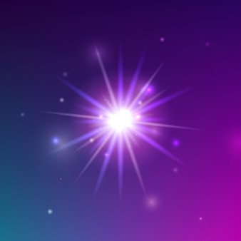 Glühender lichtschein. vektor-illustration des glänzenden sparkle-elements über lila hintergrund.