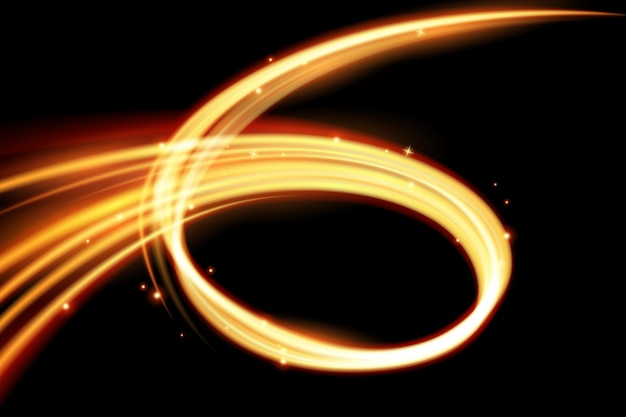 Glühender magischer lichteffekt und lange spuren feuerbewegung