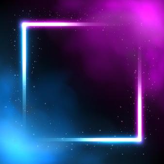 Glühender quadratischer neonbeleuchtungsrahmen futuristischer hintergrund mit rauchvektorillustration