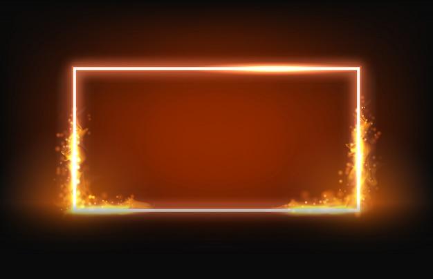 Glühender quadratischer neonrahmen mit feuer- und rauchelement