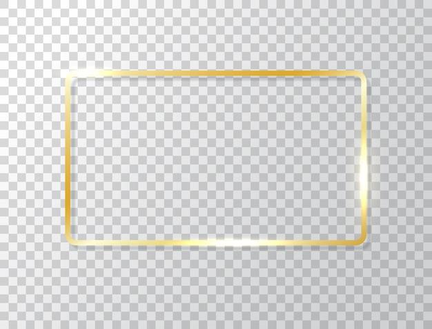 Glühender rahmen lokalisiert auf transparentem hintergrund. goldluxusrechteckrand. goldene fahne mit lichteffekten.