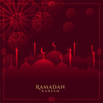 Glühender roter ramadan kareem hintergrund mit moschee
