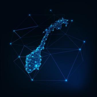 Glühender schattenbildentwurf der norwegen-karte gemacht von den niedrigen polygonalen formen.