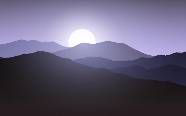 Glühender sonnenaufgang über berg