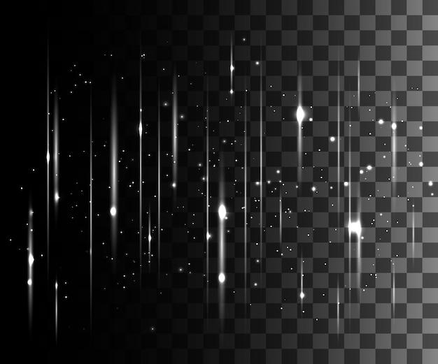 Glühender weißer transparenter effekt, linseneffekt, explosion, glitzer, linie, sonnenblitz, funke und sterne. für illustrationsschablonenkunst, banner für weihnachtsfeier, magischer blitz energiestrahl