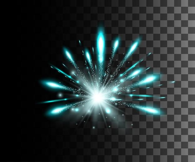 Glühender weißer transparenter effekt, linseneffekt, explosion, glitzer, linie, sonnenblitz, funke und sterne. für illustrationsschablonenkunst, für weihnachtsfeier, magischer blitz energiestrahl