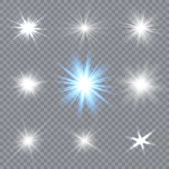 Glühendes licht explodiert auf einem transparenten hintergrund. funkelnde magische staubpartikel. heller stern. illustration.