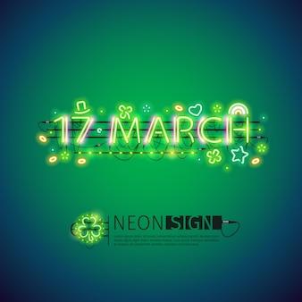 Glühendes neon 17. märz-plakat