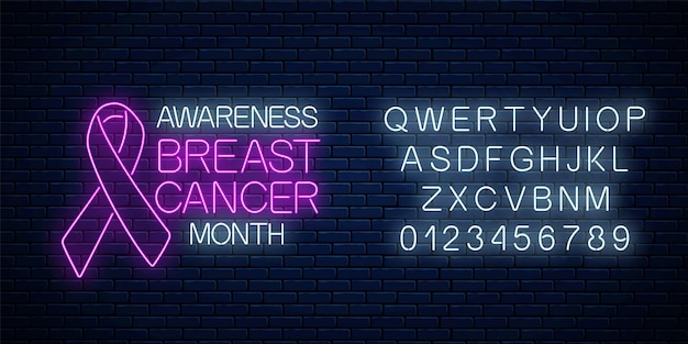 Glühendes neonzeichen des bewusstseinsmonats für brustdosen im oktober mit alphabet. neonplakatdesign mit rosafarbenem band und text auf dunklem backsteinmauerhintergrund. vektor-illustration.