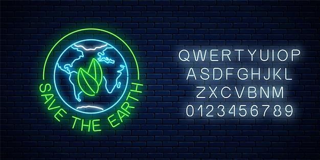 Glühendes neonzeichen des welttages der erde mit blättern im globussymbol und text mit alphabet auf dunklem backsteinmauerhintergrund. neonbanner zum tag der erde. vektor-illustration.
