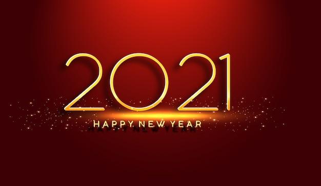 Glühendes neues jahr 2021 auf rotem hintergrund