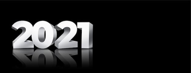 Glühendes schwarzes banner des neuen jahres 2021