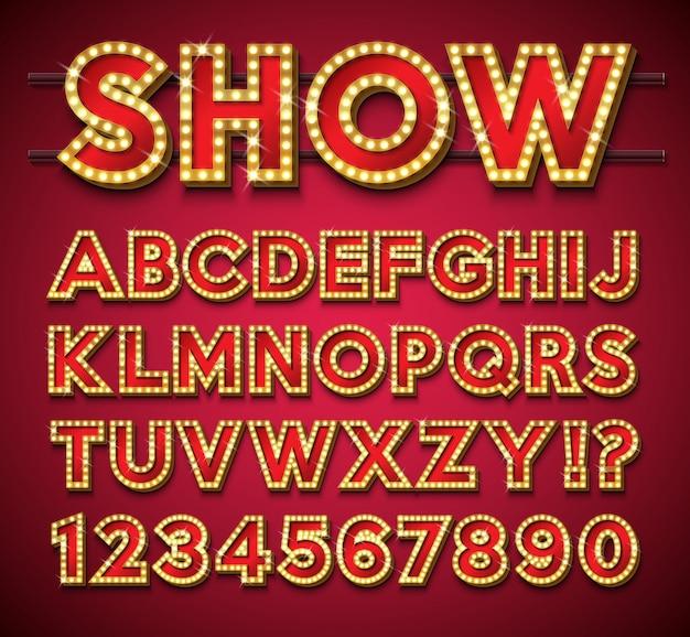 Glühlampe-alphabet mit goldrahmen und -schatten auf rotem hintergrund.
