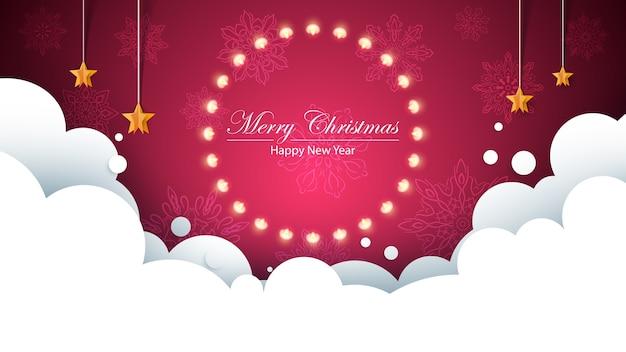 Glühlampe-gelbgirlande der frohen weihnachten auf dem flockenhintergrund. birne, stern, schnee, wolke.