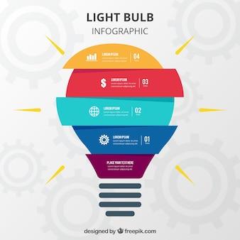 Glühlampe infographic im flachen design