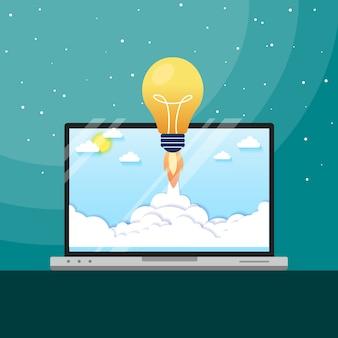 Glühlampe-raketenstart des konzeptes für ideenschub