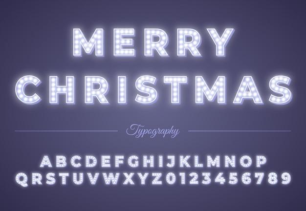 Glühlampealphabet des weihnachten 3d. partyfeier des winter-weihnachten oder des neuen jahres. retro leuchtende schrift. vintage typografie