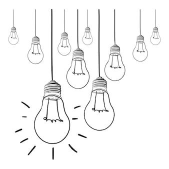 Glühlampeideen-vektorillustration auf weißem hintergrund