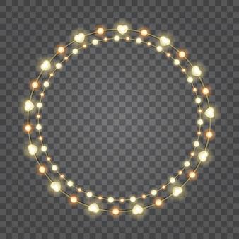 Glühlampen der glänzenden herzen lokalisiert auf transparenz
