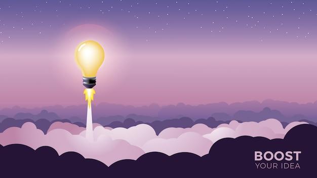 Glühlampenstart als rocket-vektorillustration