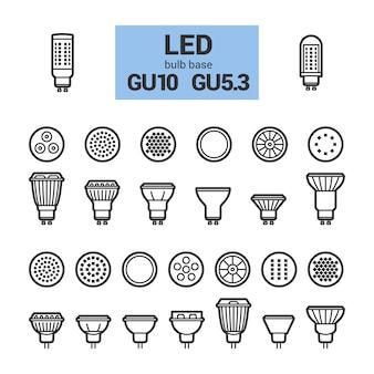 Glühlampenvektorentwurfs-ikonensatz led-lichtes gu10