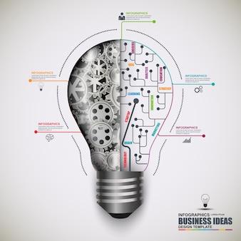 Glühlampevektor-designschablone infographic-geschäfts. kann für workflow-prozesse verwendet werden