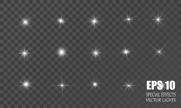 Glühlichteffekt. abstrakte fackellichtstrahlen. eine reihe von sternen, licht und strahlung, strahlen und helligkeit.