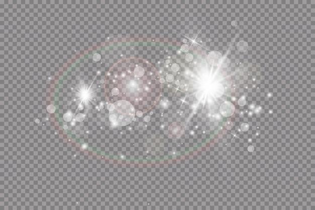 Glühlichteffekt. illustration. weihnachtsblitz. staub. fallender schnee. dekoration.
