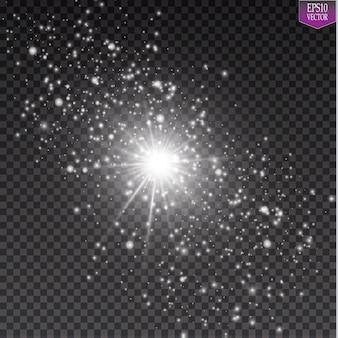 Glühlichteffekt. starburst mit funkeln auf transparentem hintergrund. illustration.