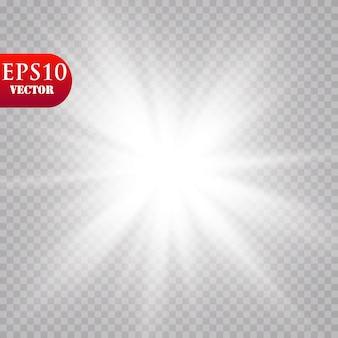 Glühlichteffekt. starburst mit funkeln auf transparentem hintergrund. . sonne