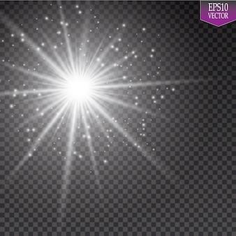 Glühlichteffekt. starburst mit funkeln auf transparentem hintergrund. vektorillustration. so.eps 10