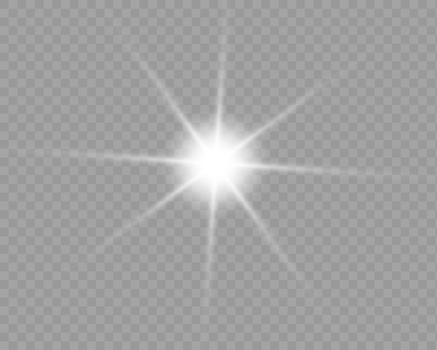 Glühlichteffekt. starburst mit funkeln auf transparentem hintergrund.