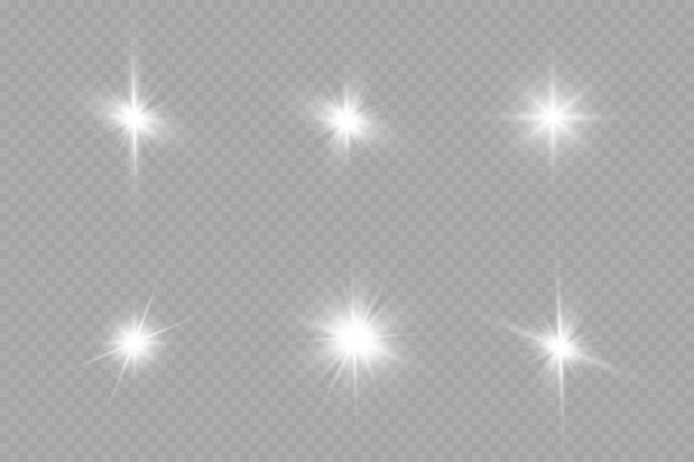 Glühlichteffekt. starburst mit funkelnden auf transparent