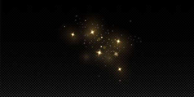 Glühlichteffekt. vektor funkelt. funkelnde magische staubpartikel. die staubfunken und goldenen sterne leuchten mit besonderem licht.