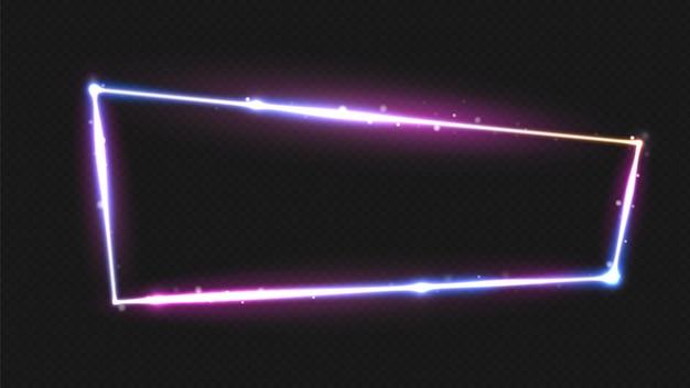 Glührahmen. neonbeleuchtung rechteckige wand. nachtclub grenze, abstrakte bildschirm banner für bar, musikfest oder spiel, casino. elektrische straße fluoreszierend. helle helle rechteckillustration
