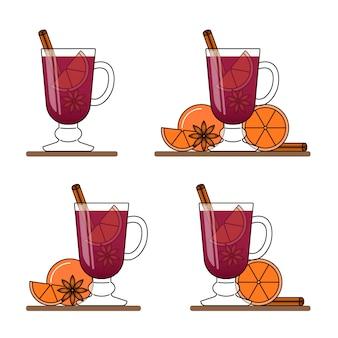 Glühwein-banner. set heiße gläser mit rotwein, zimt, orange, sternanice. flache linie kunststil. vektor-illustration konzept für herbst, winter, weihnachten, neujahr, visitenkarte, verkaufsflyer