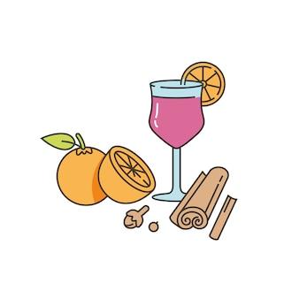 Glühwein-konzeptillustration des linearen entwurfs. glas glühwein mit citruc und gewürzen.