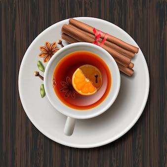 Glühwein mit gewürzen, tasse tee, vektorillustration.
