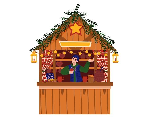 Glühweinladen und lebkuchen. weihnachtsmarkt, weihnachtseinkäufe. urlaub mit glücklicher familie.