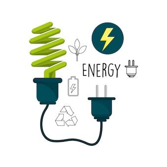 Glühbirne mit Stromkabel und Umwelt Symbole