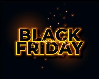 Glühender gelber Neonlichter schwarzer Freitag-Hintergrund
