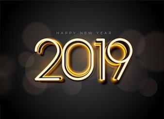 Glühendes Hintergrunddesign des neuen Jahres 2019