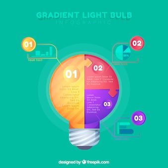 Glühlampe infographic mit Steigungsfarben